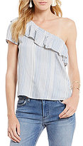 RD Style One Shoulder Stripe Ruffle Top