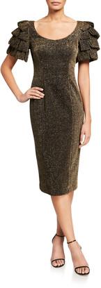Badgley Mischka Metallic Loop-Sleeve Sheath Dress