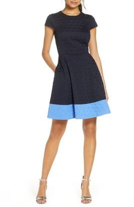 Brinker & Eliza Texture Knit Fit & Flare Dress