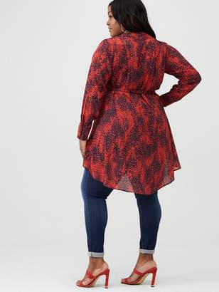 V By Very Curve Wrap Dip Hem Blouse - Red Print