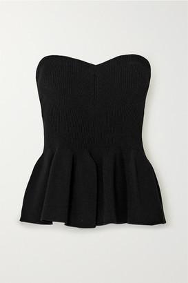 Philosophy di Lorenzo Serafini Strapless Ribbed-knit Peplum Top - Black