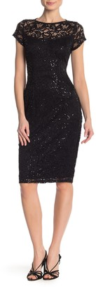 Marina Sequin Lace Cap Sleeve Sheath Dress