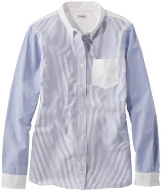 L.L. Bean L.L.Bean Women's Lakewashed Organic Cotton Oxford Shirt, Colorblock