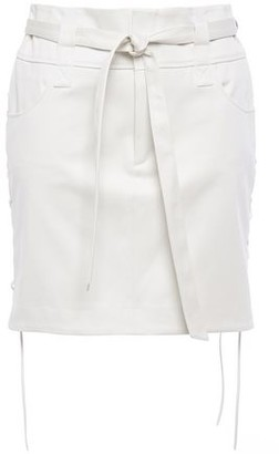 IRO Goodly Belted Lace-up Cotton-twill Mini Skirt