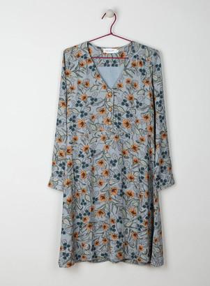 Indi & Cold - Duck Egg Floral V Neck Dress - medium