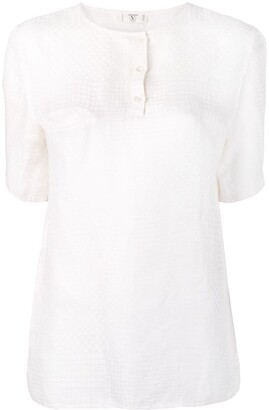 Valentino Pre Owned 1970's collarless jacquard blouse