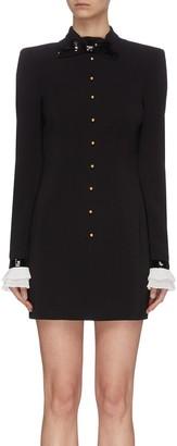 Philosophy di Lorenzo Serafini Ribbon tie neck pearl button coat dress