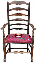 One Kings Lane Vintage English Ladderback Suzani Armchair - de-cor - frame, brown; upholstery, pink/multi