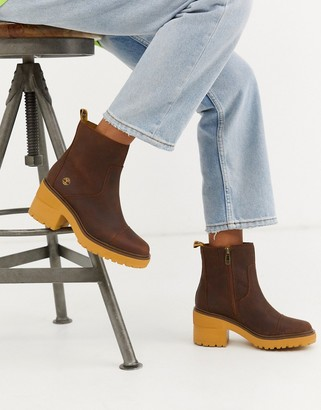 Timberland Silver Blossom brown leather mid bootie heeled ankle boots