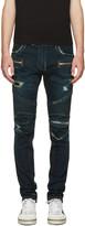 Balmain Blue Washed Biker Jeans