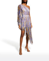 Thumbnail for your product : Raisa Vanessa Watercolor Strass-Embellished One-Shoulder Dress