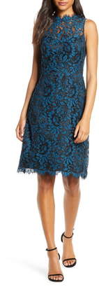 Eliza J High Neck Lace Sheath Dress
