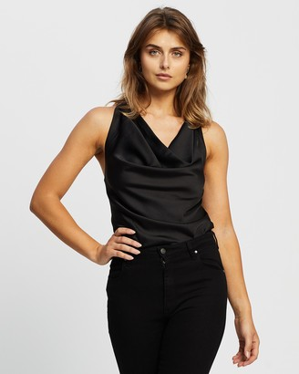 Atmos & Here Atmos&Here - Women's Black Bodysuits - Adelina Cowl Neck Bodysuit - Size 8 at The Iconic