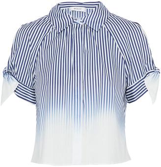 Milly Cold-shoulder Striped Degrade Cotton-blend Poplin Shirt
