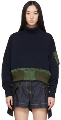 Sacai Navy Knit Collar Sweater
