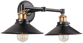 Linea Di Liara Andante 2 Light Industrial Wall Sconce with LED Bulbs, Antique Brass