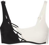 Agent Provocateur Jojo Lace-up Tulle-trimmed Bikini Top - Black