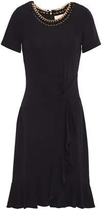 MICHAEL Michael Kors Draped Embellished Stretch-jersey Mini Dress