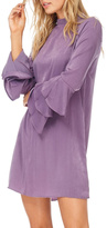 Everly Plum Silky Tiered Sleeve Dress