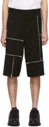 Comme des Garcons Black Wool Doeskin Zipper Shorts