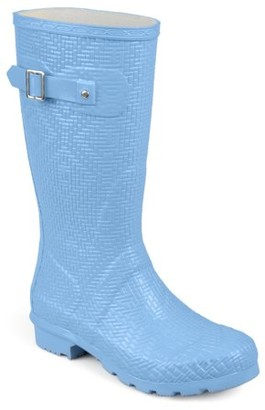 Brinley Co. Womens Mid-calf Textured Basketweave Rubber Rainboots