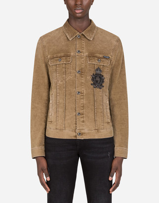 Dolce & Gabbana Stretch Velvet Denim Jacket With Patch Embellishment