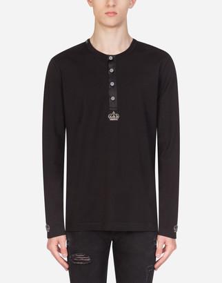 Dolce & Gabbana Grandad Neck Cotton Shirt With Patch