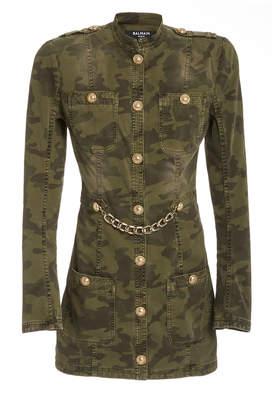 Balmain Camo Chainlink Stretch-Cotton Military Jacket