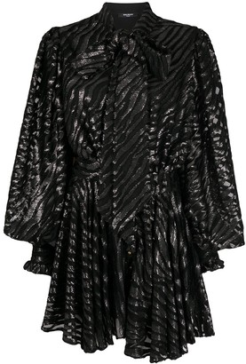 Balmain Embellsihed Zebra-Print Gathered Silk Dress