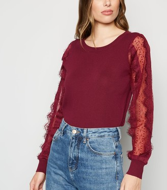 New Look Lace Sheer Sleeve Jumper