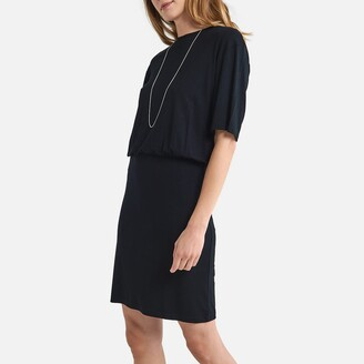 La Redoute Collections Plain T-Shirt Mini Dress with Short Sleeves