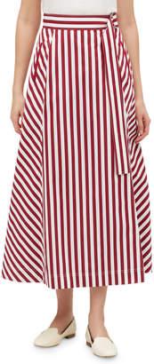 Lafayette 148 New York Nimah Strada-Stripe Midi Cotton Skirt