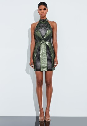 Missguided Green Halterneck Embellished Mini Dress
