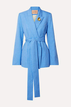 Maggie Marilyn + Net Sustain Just Getting Started Belted Pinstriped Woven Wrap Blazer - Light blue