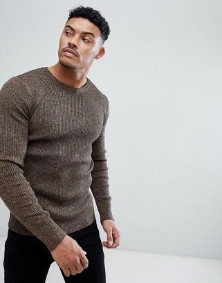Asos Design DESIGN muscle fit ribbed sweater in tan twist