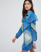 Liquorish Ruffle Tea Dress In Geometric Print Dress