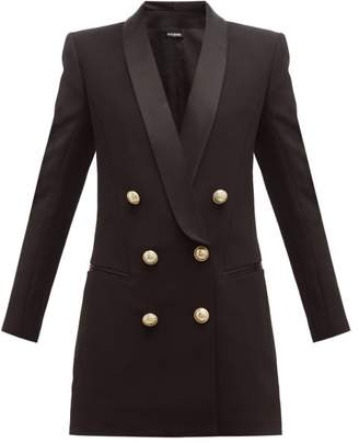 Balmain Double-breasted Crepe Blazer Dress - Womens - Black