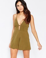 Oh My Love Halter Romper With Eyelet Detail