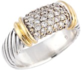David Yurman 18K Yellow Gold and 925 Sterling Silver with Diamonds Band Ring Size 7