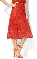 7th Avenue Design Studio Midi Lace Flare Skirt