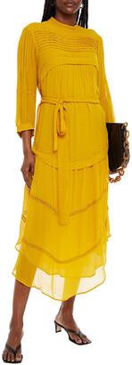 BA&SH Prune Embroidered Pintucked Georgette Midi Dress