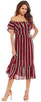 Gianni Bini Kimberly Off-the-Shoulder Stripe Midi Dress
