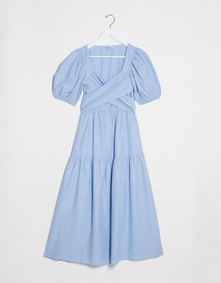 Stradivarius midi poplin dress with belt in blue