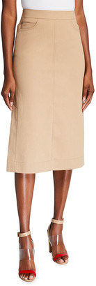 Akris Denim Side-Slit Midi Skirt