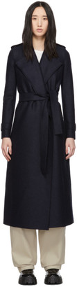 Harris Wharf London Navy Pressed Wool Long Coat
