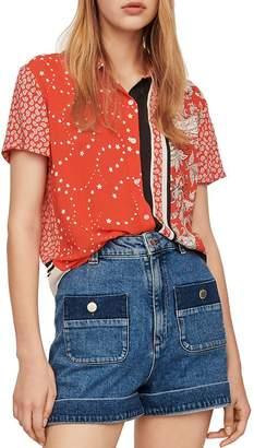 Maje Coeur Bandana-Print Shirt