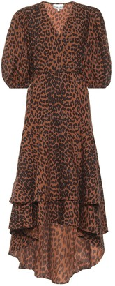 Ganni Leopard-print cotton wrap dress