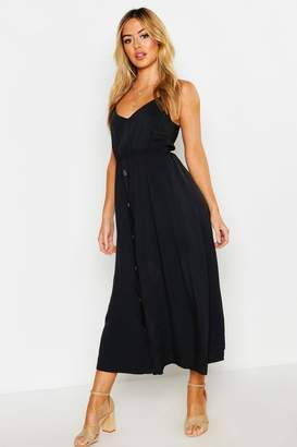 boohoo Petite Horn Button Strappy Sun Dress