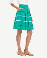 Ann Taylor Petite Striped Poplin Pleated Full Skirt