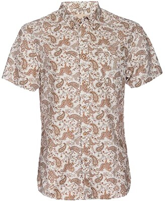Nifty Genius Truman Button Collar Paisley Print (Cream/Orange) Men's Clothing